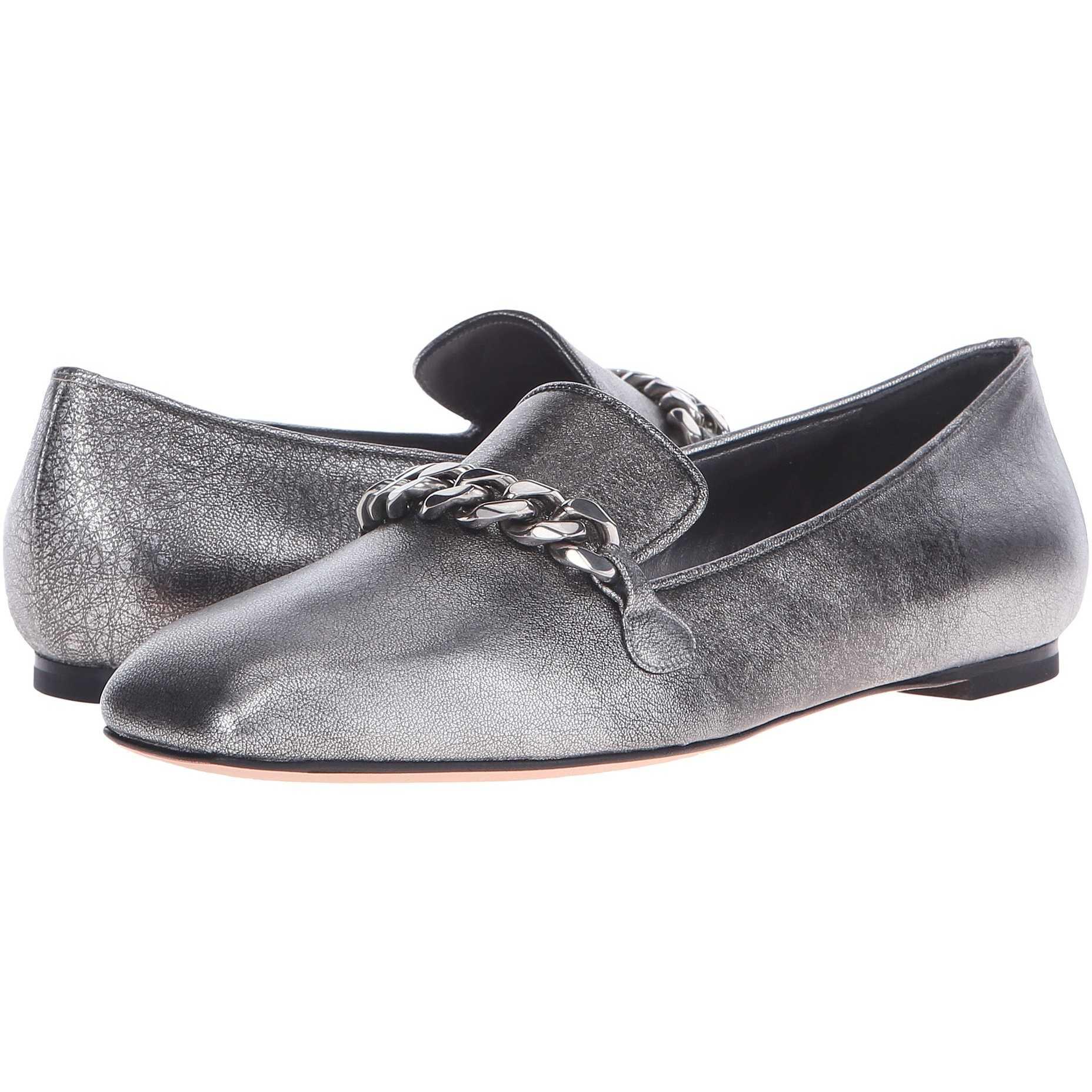 Mocasini dama Alexander McQueen Scarpa Pelle S.Cuoio Silver
