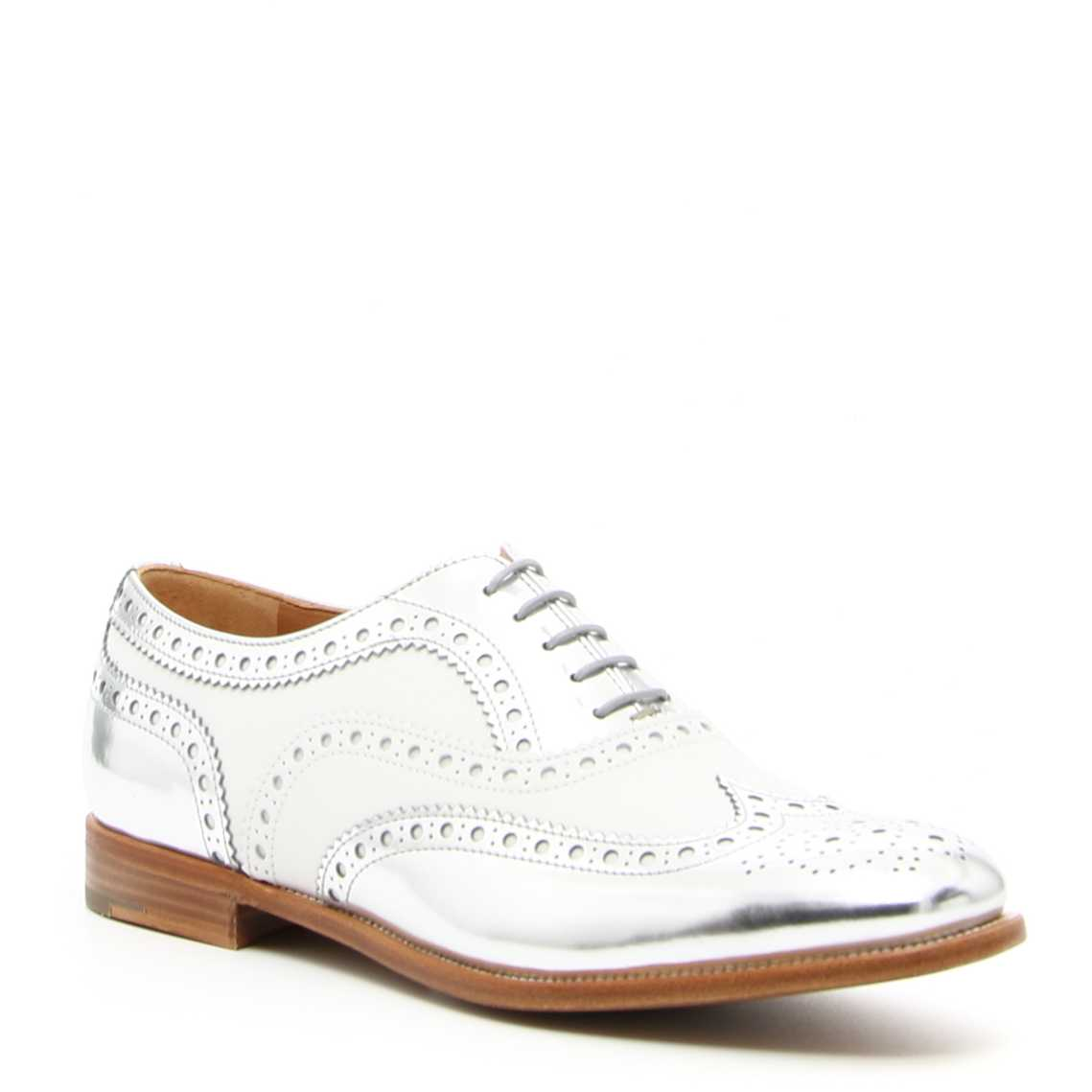 Mocasini dama Church's Mirror Calf Lace-Ups BURWOOD 3 W SILVER+WHITE