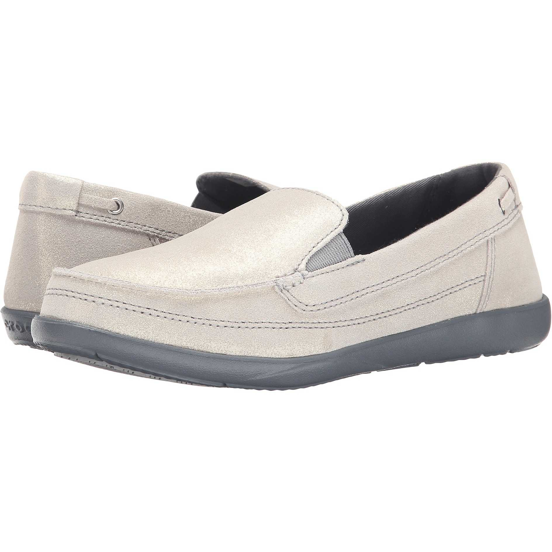 Mocasini dama Crocs Walu Shimmer Leather Loafer Light Grey/Charcoal