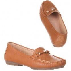 Pantofi comozi, stil mocasini, de culoare camel