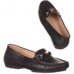 Pantofi comozi, stil mocasini, de culoare neagra