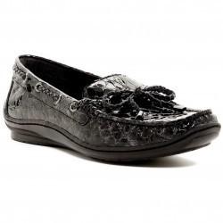 Mocasini dama Donald J Pliner Lacey Snake-Emblossed Loafer - Multiple Widths Available BLACK