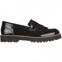 Mocasini dama Hogan Women's Leather Loafers Moccasins New H259 Route Black