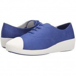 Mocasini dama FitFlop F-Pop Oxford Canvas Mazarine Blue